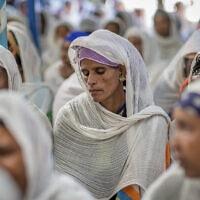חברי הקהילה היהודית מתאספים כדי למחות על החלטת ישראל שלא לאפשר לכולם לעלות. אדיס אבבה, נובמבר 2018 (צילום: AP Photo / Mulugeta Ayene)