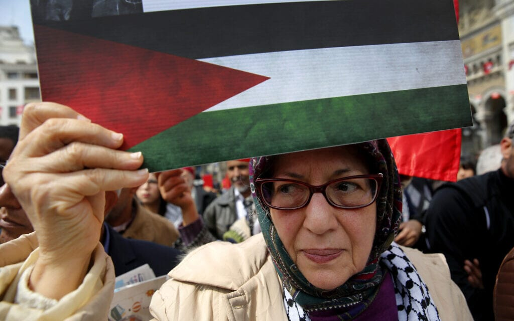 ארכיון, הפגנה למען הפלסטינים ונגד כינוס הליגה הערבית בטוניס, 2019 (צילום: AP Photo/Hussein Malla)