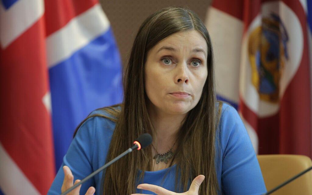 ראשת ממשלת איסלנד, קתרין ג'ייקובסדוטיר (צילום: AP Photo/Seth Wenig)