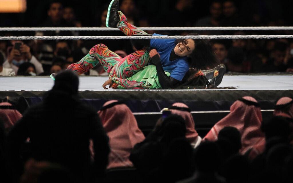 תחרות היאבקות לנשים בערב הסעודית, פברואר 2020 (צילום: AP Photo/Amr Nabil)