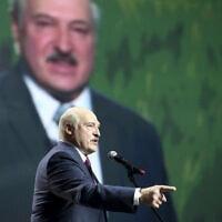 אלכסנדר לוקשנקו נואם במינסק (צילום: TUT.by via AP)