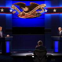 נשיא ארצות הברית דונלד טראמפ וסגן הנשיא לשעבר ג'ו ביידן בעימות בחירות בקליבלנד שבאוהיו, 29 בספטמבר 2020 (צילום: Patrick Semansky, AP)