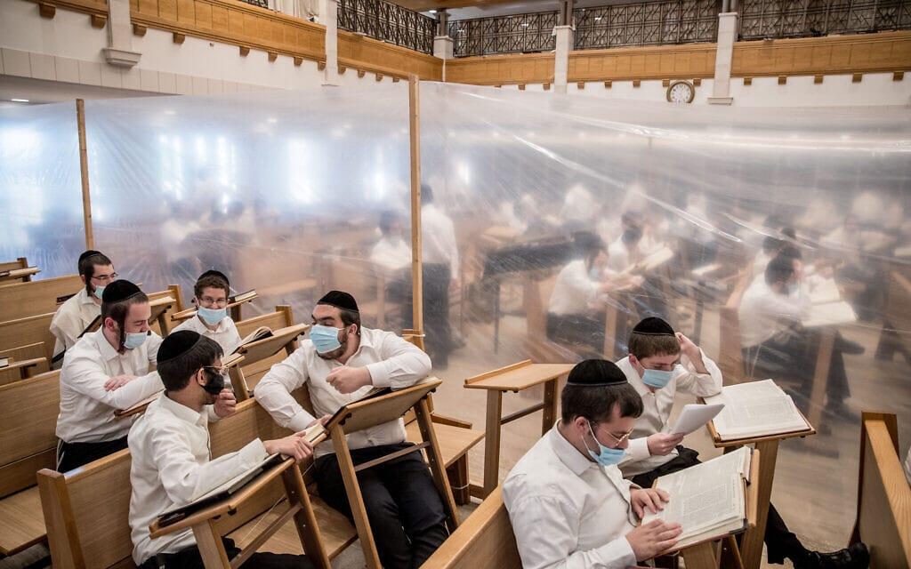 אברכים לומדים בקפסולות בישיבת קמניץ, 2 בספטמבר 2020 (צילום: יונתן זינדל/פלאש90)