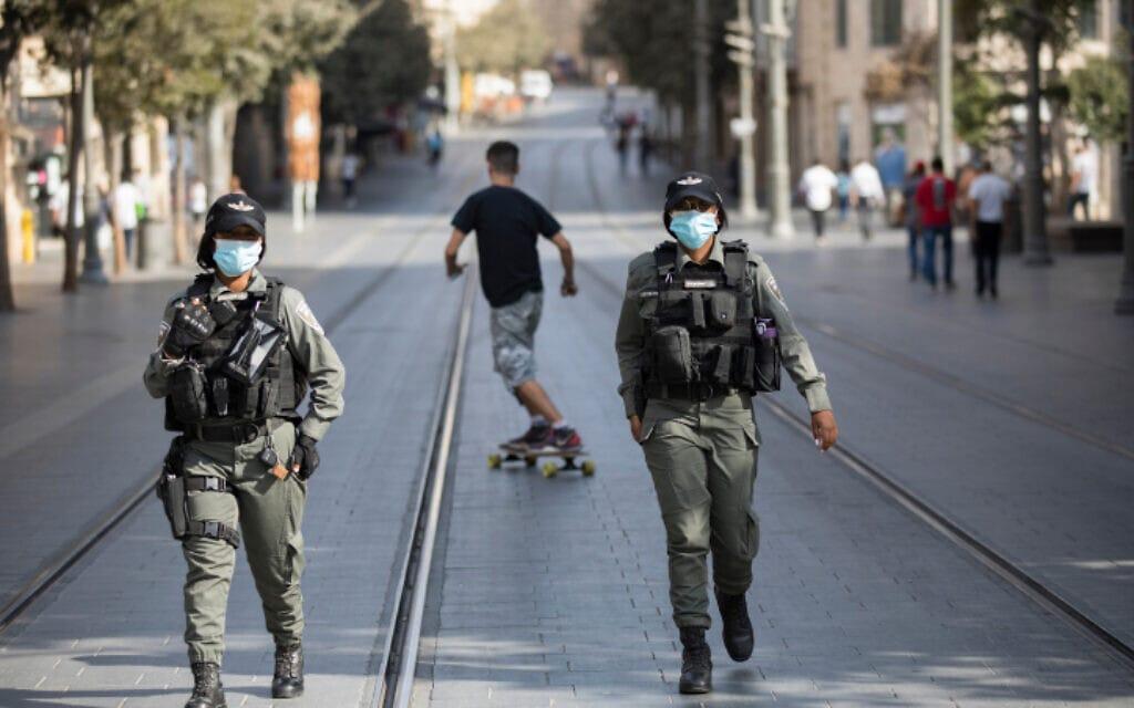שוטרות משמר הגבול ברחוב יפו בירושלים, 23 בספטמבר 2020 (צילום: נתי שוחט, פלאש 90)