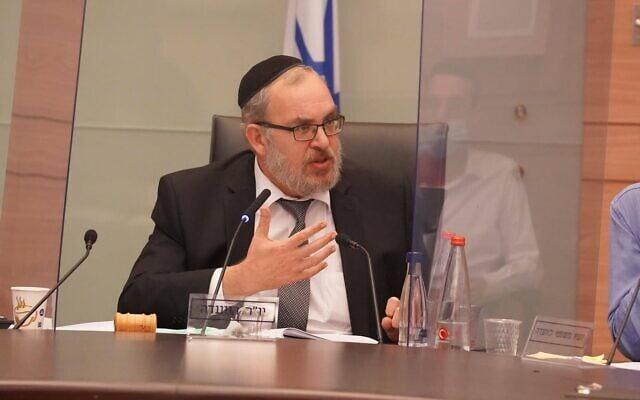 יעקב אשר בישיבתה של ועדת החוקה, חוק ומשפט, 7 בספטמבר 2020 (צילום: יהונתן סמייה, דוברות הכנסת)