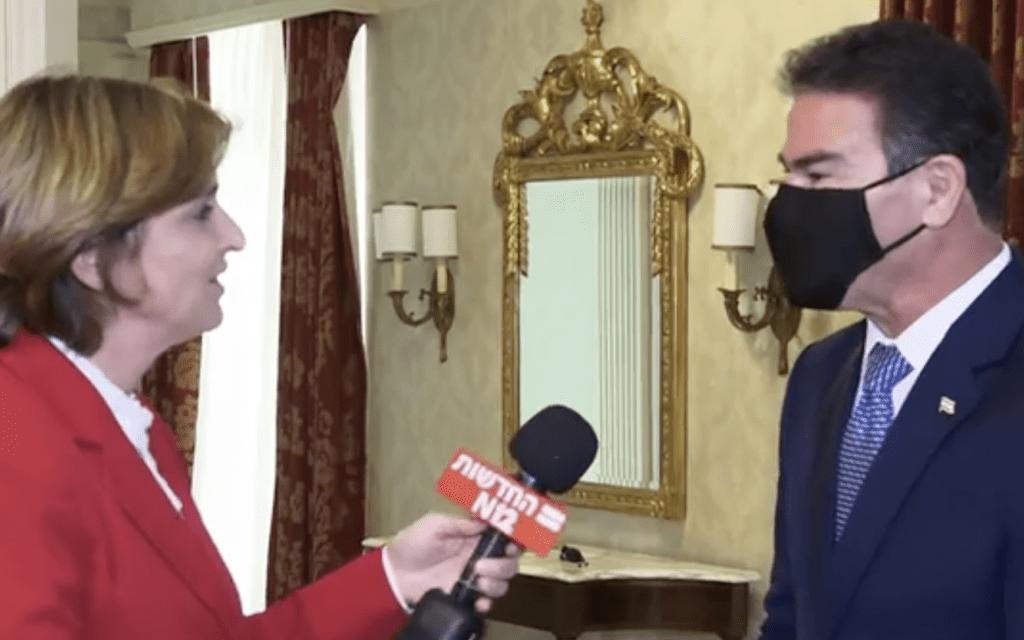 ראש המוסד בראיון לדנה ויס, לאחר חתימת ההסכמים עם האמירויות. ספטמבר 2020 (צילום: צילום מסך, חדשות 12)