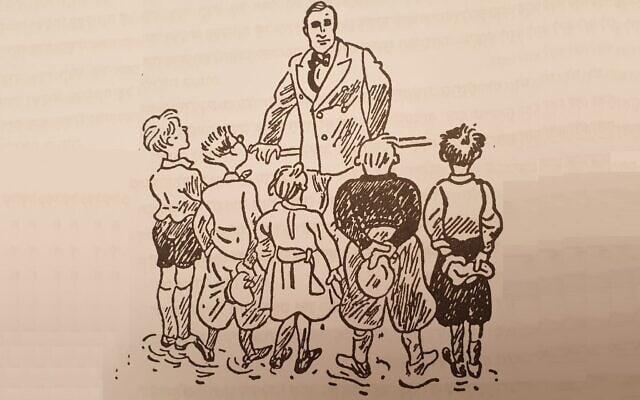 """הבירור המשמעתי שעורך ד""""ר בק (יוסטוס) לחבורת הילדים ב""""כיתה המעופפת""""/ איור: ולטר טריאר."""
