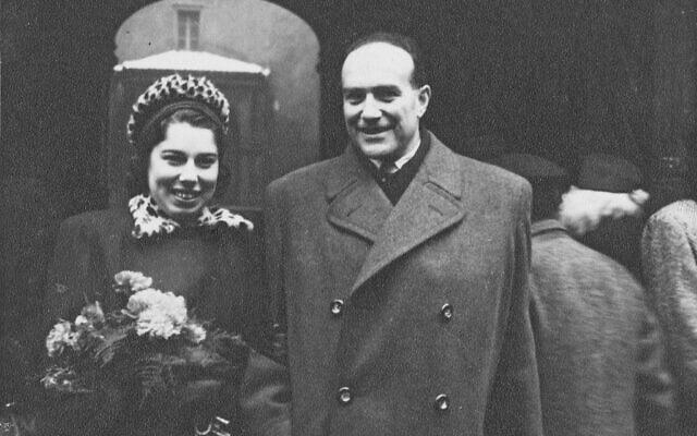 פרנסי רבינק בחתונתה עם קורט אפשטיין, פראג, 21 בדצמבר 1946 (צילום: באדיבות הלן אפשטיין)