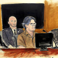 איור של קית רנייר בזמן משפטו (צילום: Elizabeth Williams via AP)