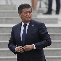 נשיא קירגיזסטן, סואורונבאי ג'נבקוב, בבירה בישקק, 28 במרץ 2019 (צילום: Maxim Shemetov/Pool Photo via AP)