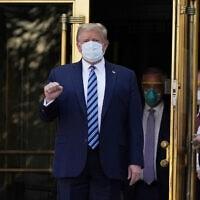 דולנד טראמפ משתחרר מבית החולים, ב-5 באוקטובר 2020 (צילום: AP Photo/Evan Vucci)
