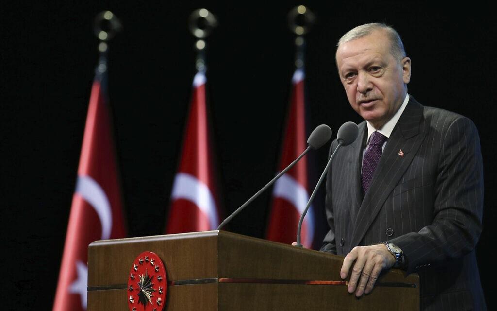 נשיא טורקיה, רג'פ טאיפ ארדואן, אוקטובר 2020 (צילום: Turkish Presidency via AP, Pool)
