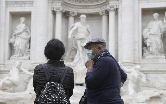 עידן הקורונה באיטליה, אוקטובר 2020 (צילום: AP Photo/Gregorio Borgia)