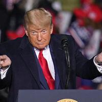 דונלד טראמפ בכנס בחירות בפנסילבניה, 20 באוקטובר 2020 (צילום: AP Photo/Gene J. Puskar)