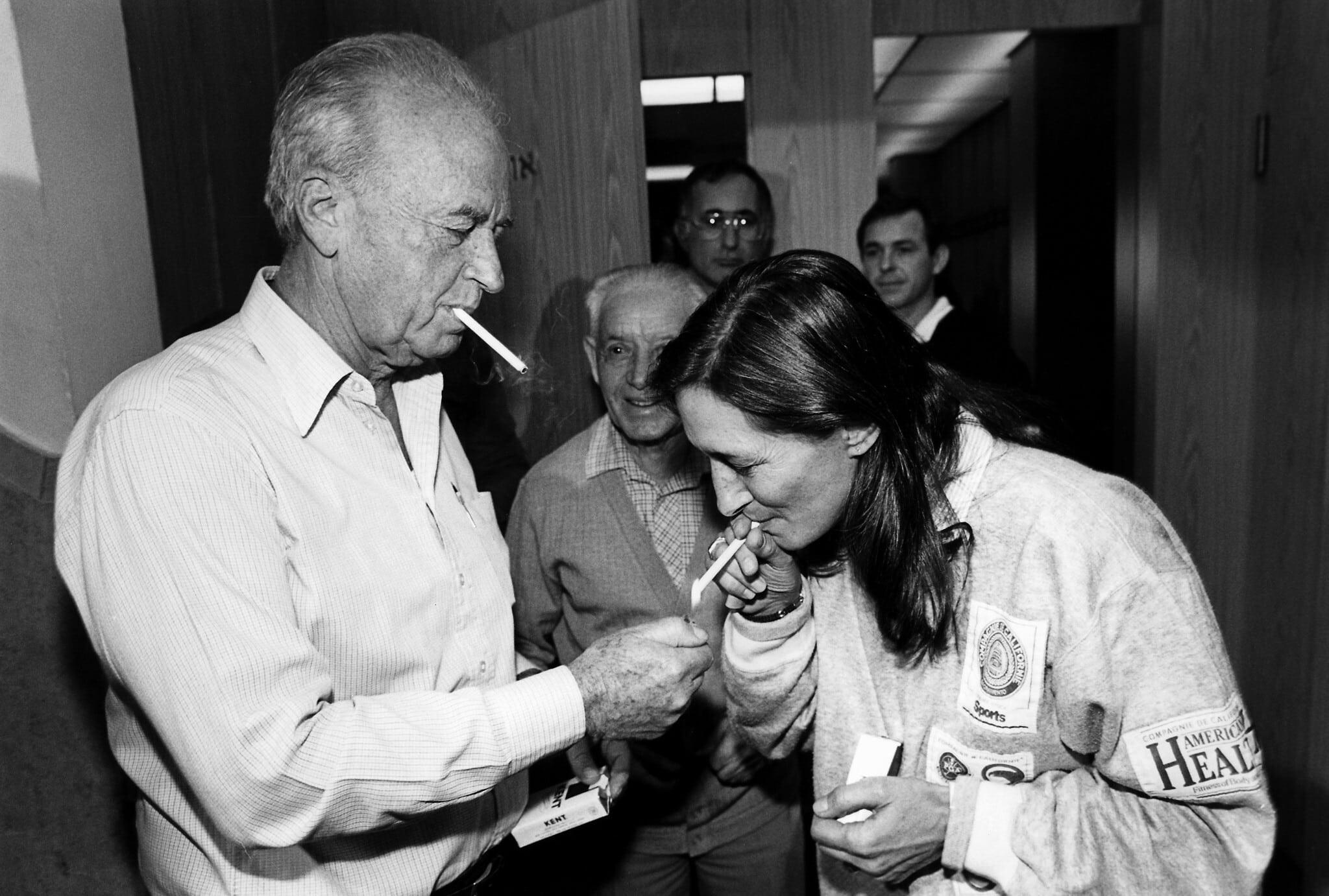 יעל דיין ויצחק רבין ביולי 1989 (צילום: משה שי/פלאש90)