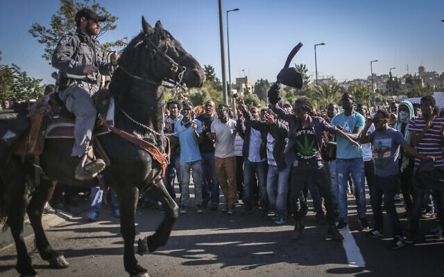 הפגנות חברי העדה האתיופית ב-2015 (צילום: הדס פרוש/פלאש90)