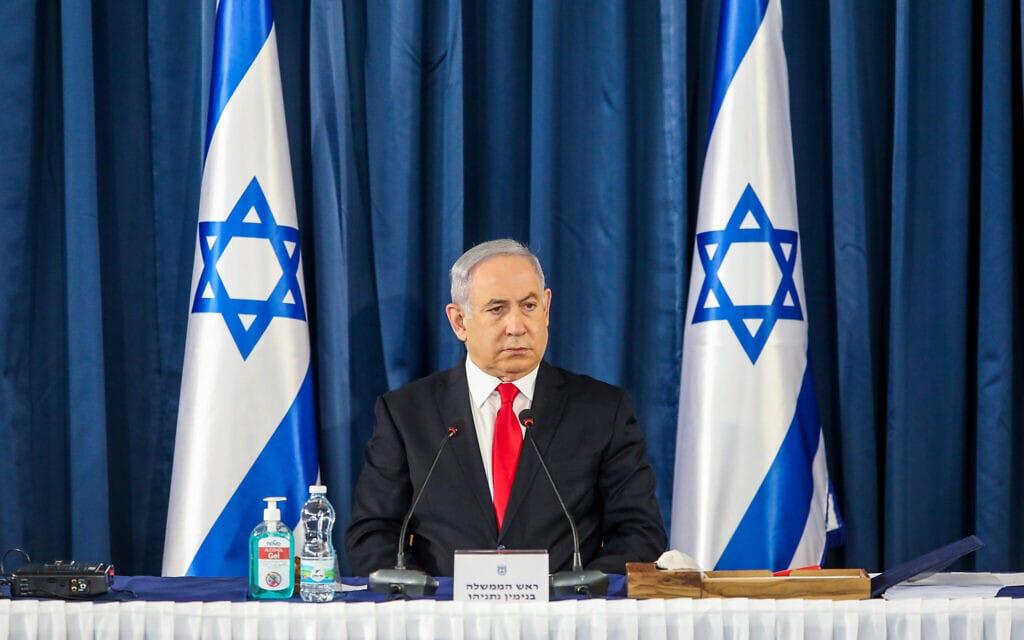 בנימין נתניהו בישיבת הממשלה, יוני 2020 (צילום: Marc Israel Sellem/POOL)