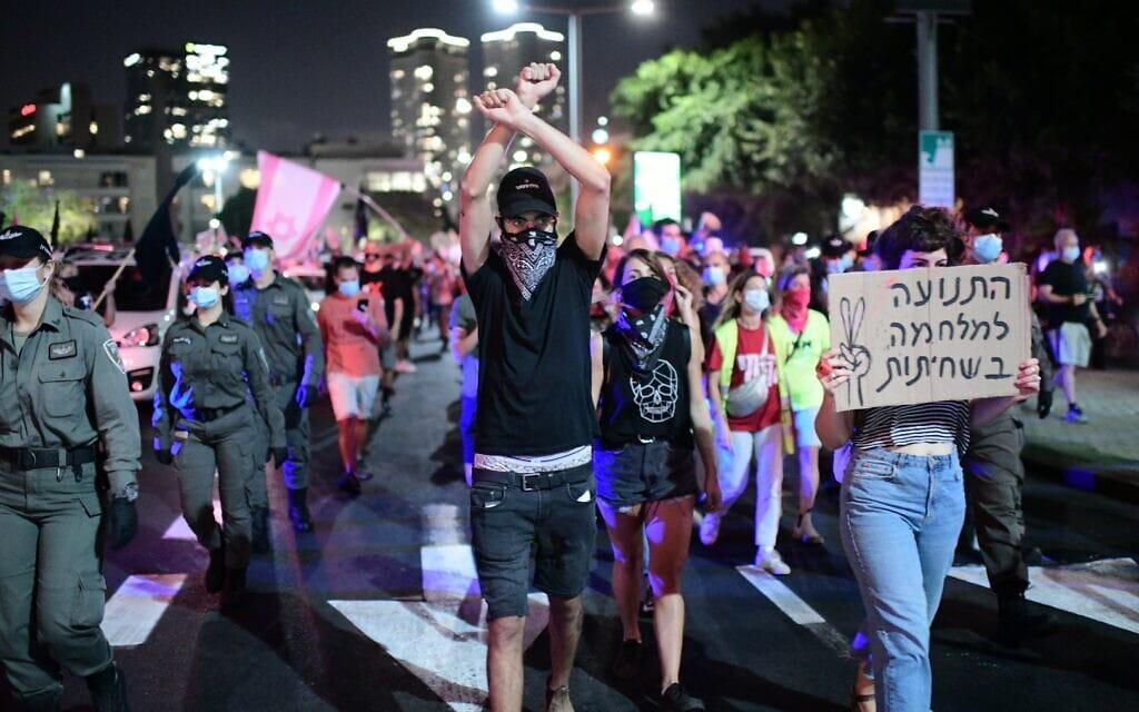הפגנה נגד נתניהו בתל אביב, 1 באוקטובר 2020 (צילום: תומר נויברג / פלאש 90)