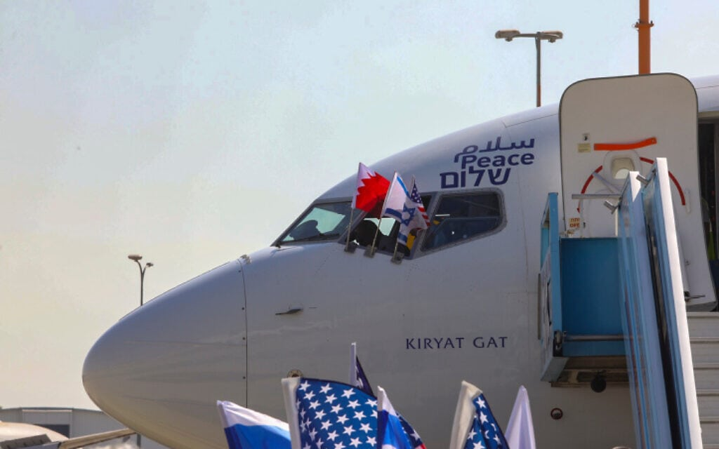 מטוס אל על בנמל התעופה בן-גוריון לפני המראת המשלחת הישראלית לבחריין, 18 באוקטובר 2020 (צילום: מרק ישראל סלם, פלאש 90 - Pool)