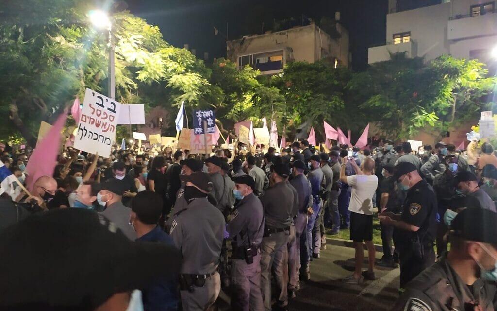 הפגנות בתל אביב. אוקטובר 2020 (צילום: ערן הילדסהיים)