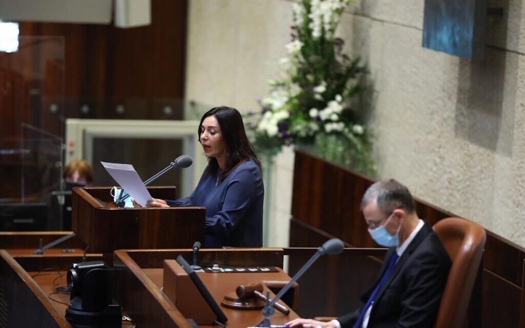 מירי רגב נואמת בדיון על הסכם השלום עם האמירויות, 15 באוקטובר 2020