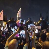 הפגנה מול מעון ראש הממשלה בירושלים. 24 באוקטובר 2020 (צילום: ערן הילדסהיים)