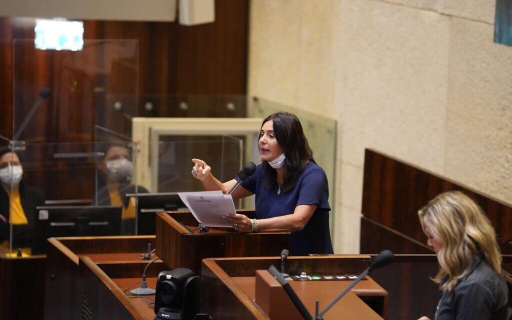 השרה מירי רגב במליאה, 28 באוקטובר 2020 (צילום: שמוליק גרוסמן / דוברות הכנסת)
