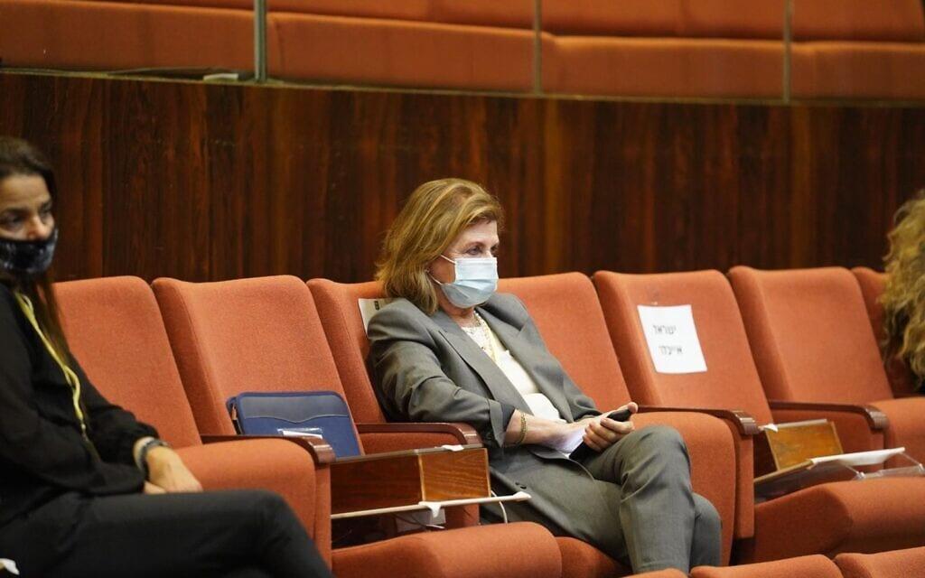 דליה רבין בישיבת מליאה מיוחדת של הכנסת לזכר יצחק רבין, 29 באוקטובר 2020 (צילום: שמוליק גרוסמן, דוברות הכנסת)