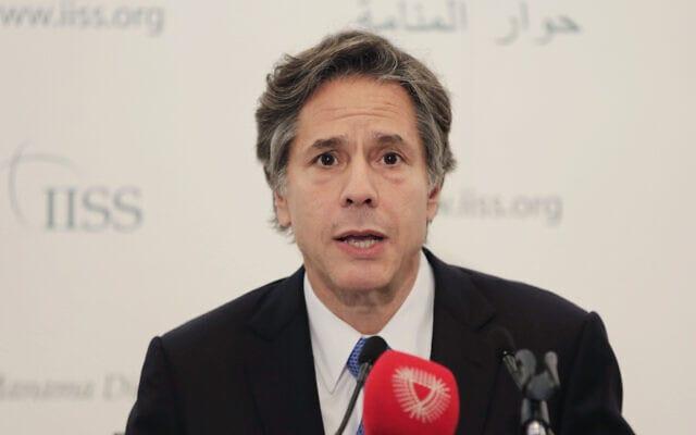 """אנתוני בלינקן, מזכיר המדינה הבא. קרא ל""""הערכה מחודשת"""" של הקשר עם סעודיה (צילום: Times of Israel)"""