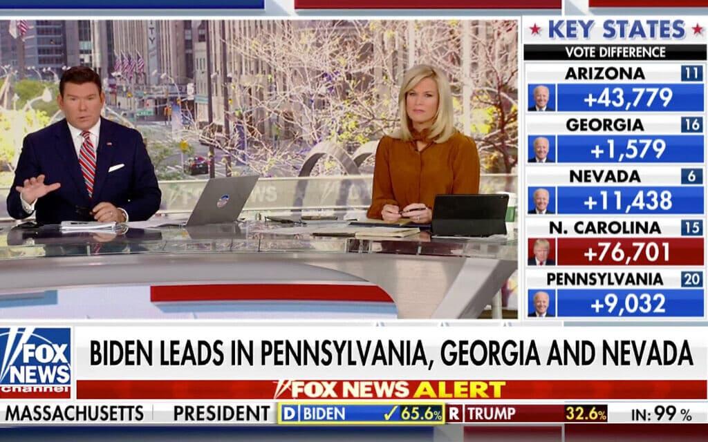 רגע ההכרזה על זכייתו של ג'ו ביידן בפוקס ניוז (צילום: צילום מסך)