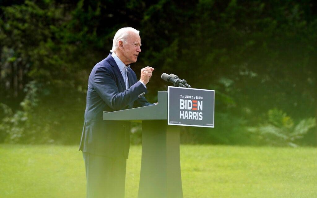 ג'ו ביידן מקיים עצרת בחירות באוויר הפתוח, בשל מגבלות הקורונה, ספטמבר 2020 (צילום: AP Photo/Patrick Semansky)