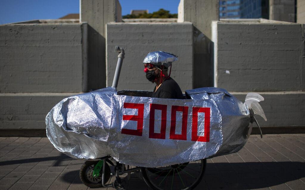 מחאה נגד בנימין נתניהו ופרשת הצוללות בתל אביב, 14 באוקטובר 2020 (צילום: AP Photo/Oded Balilty)