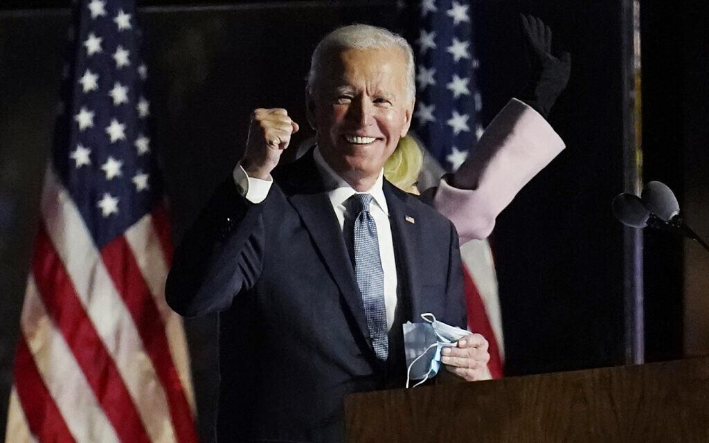 """ג'ו ביידן נואם אחרי הבחירות לנשיאות ארה""""ב, ב-4 בנובמבר 2020 (צילום: AP Photo/Paul Sancya)"""