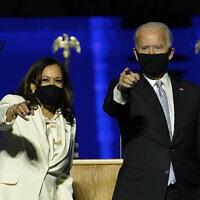 ג'ו ביידן וקמלה האריס אחרי ההכרזה על נצחונם בבחירות, 7 בנובמבר 2020 (צילום: AP Photo/Andrew Harnik, Pool)
