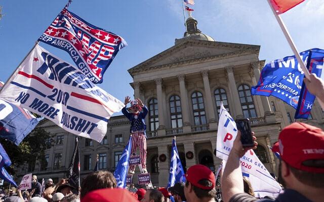 הפגנה של תומכי טראמפ בג'ורג'יה, 21 בנובמבר 2020 (צילום: AP Photo/Ben Gray)