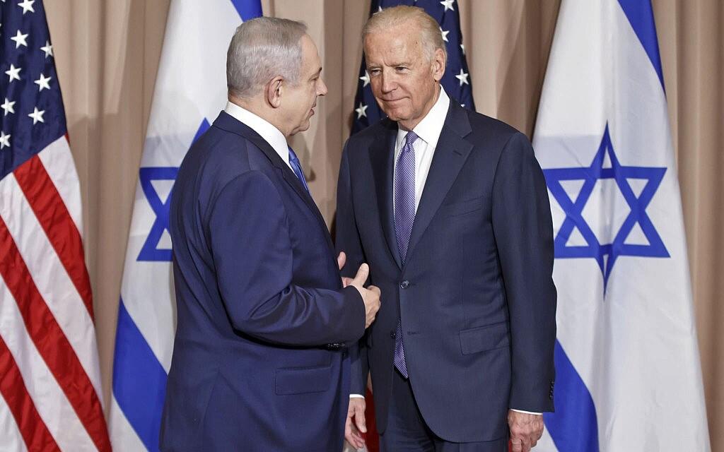 ג'ו ביידן ובנימין נתניהו בפורום הכלכלי העולמי בדאבוס, ב-21 בינואר 2016 (צילום: AP Photo/Michel Euler)