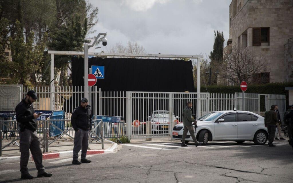 אנשי ביטחון ליד בית ראש הממשלה בירושלים, 1 במרץ 2019 (צילום: הדס פרוש, פלאש 90)