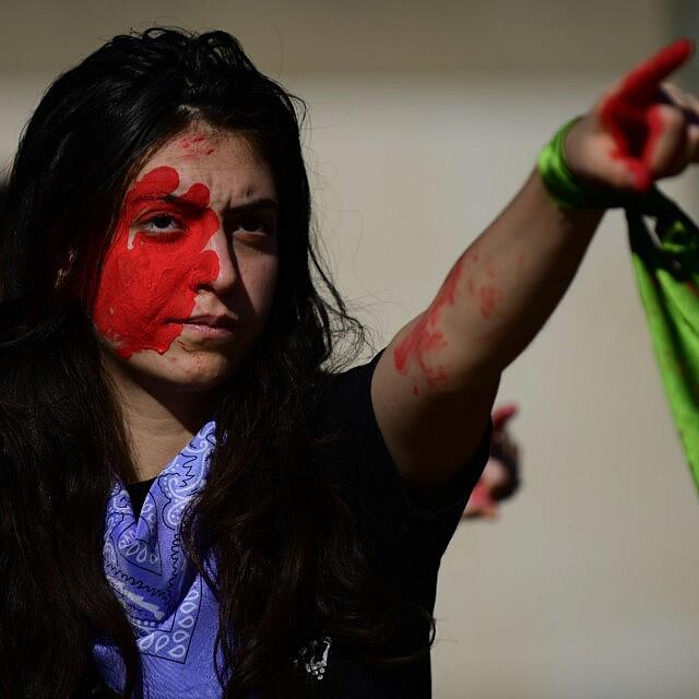 מחאה נגד אלימות כלפי נשים בתל אביב. דצמבר 2019 (צילום: Tomer Neuberg/Flash90)