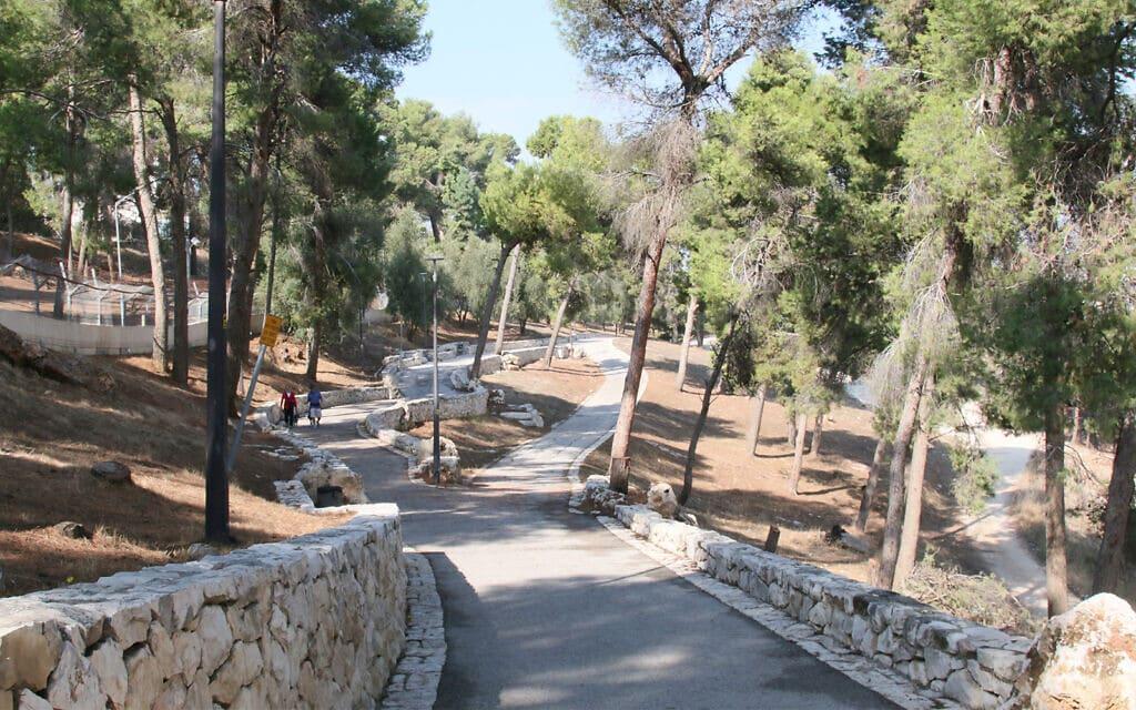 דרך גולדמן, אחד משלושה מסלולים המרכיבים את טיילת ארמון הנציב בדרום ירושלים (צילום: שמואל בר-עם)