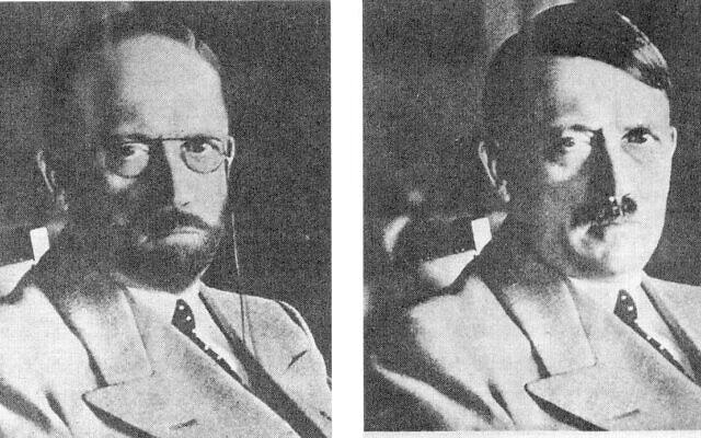 שתי גרסאות של תמונה של היטלר שריטש השירות החשאי של ארצות הברית ב-1944 כדי להראות איך היטלר עשוי להסוות את עצמו כדי להימלט לאחר תבוסתה של גרמניה (צילום: רשות הכלל)