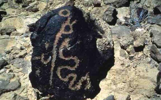 תחריט של מוט ונחש בהר כרכום (צילום: באדיבות עמנואל ענתי)