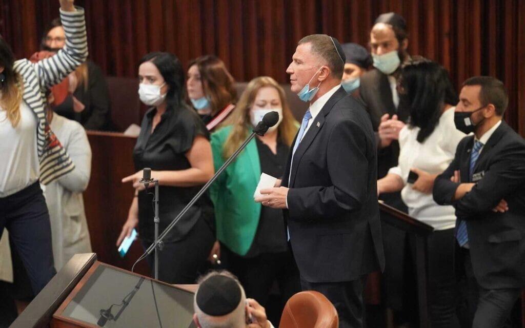שר הבריאות יולי אדלשטיין במליאת הכנסת, 9 בנובמבר 2020 (צילום: דני שם טוב, דוברות הכנסת)