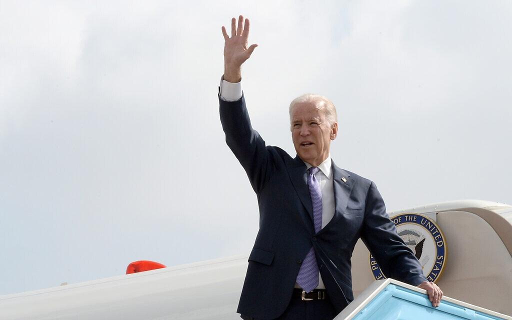 """ג'ו ביידן מגיע לביקור בישראל במרץ 2016 (צילום: שגרירות ארה""""ב בישראל)"""