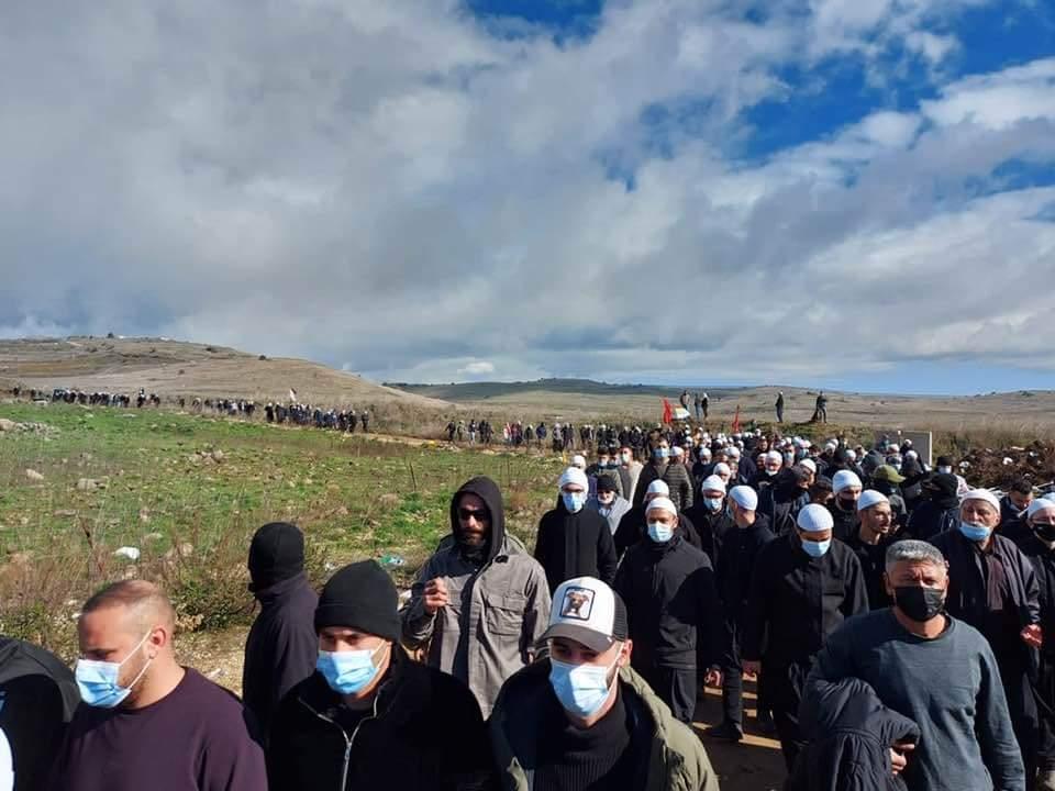 הפגנת דרוזים במחאה על הקמת טורבינות ברמת הגולן. דצמבר 2020