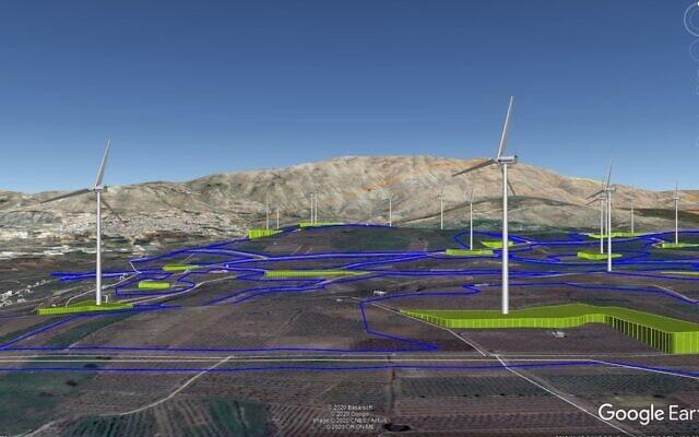 """הדמייה של טורבינות רוח בפרוייקט אר""""ן בצפון רמת הגולן"""