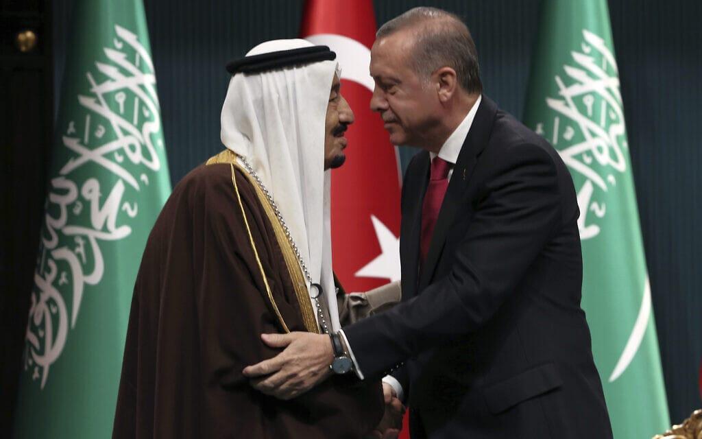 ארדואן נשיא טורקיה ומלך סעודיה סלמאן (צילום: AP Photo/Burhan Ozbilici, File)