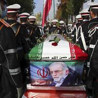 הלווייתו של מדען הגרעין מוחסן פחריזאדה באיראן ב-30 בנובמבר 2020 (צילום: Iranian Defense Ministry via AP)