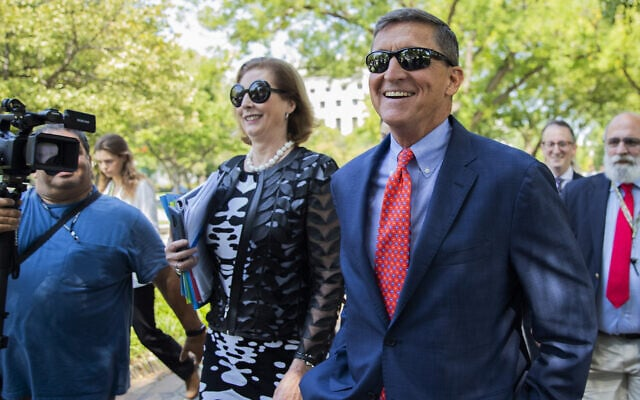 מייקל פלין ועורכת דינו סידני פאוול אחרי דיון בבית המשפט הפדרלי ב-10 בספטמבר 2019 (צילום: AP Photo/Manuel Balce Ceneta)