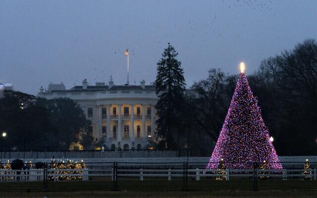 עץ חג המולד אל מול הבית הלבן, 24 בדצמבר 2020 (צילום: AP Photo/Jacquelyn Martin)