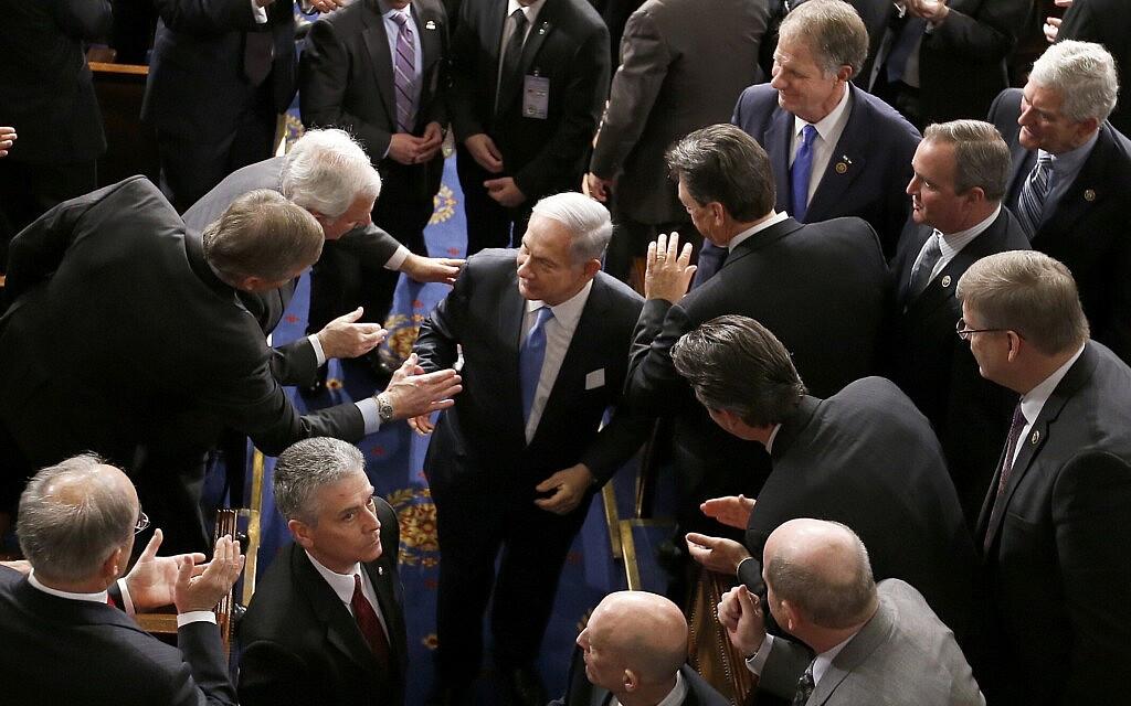 בנימין נתנהו בגבעת הקפיטול ב-3 במרץ 2015 (צילום: AP Photo/Andrew Harnik)